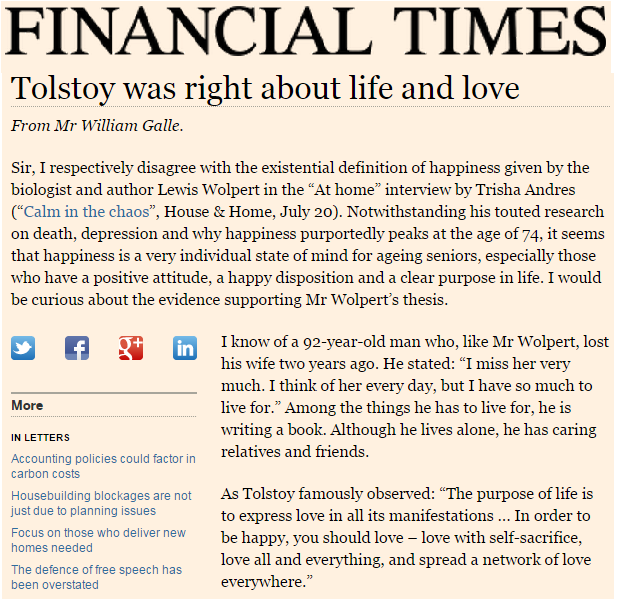 Tolstoy was right about life and love