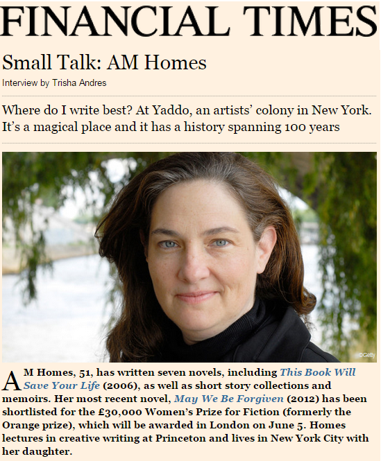 Small Talk: AM Homes