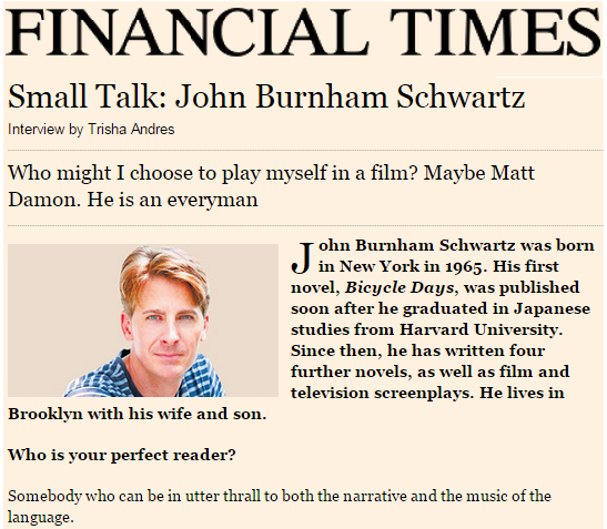 Small Talk: John Burnham Schwartz