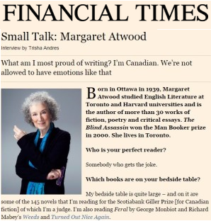 Small Talk: Margaret Atwood