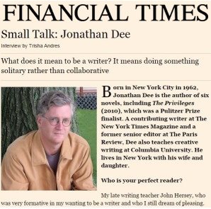 Small Talk: Jonathan Dee