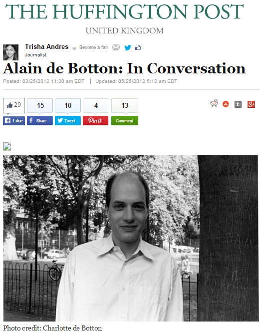 Alain de Botton: In Conversation