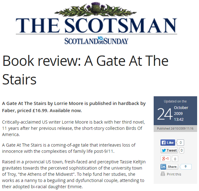Book Review: A Gate At The Stairs